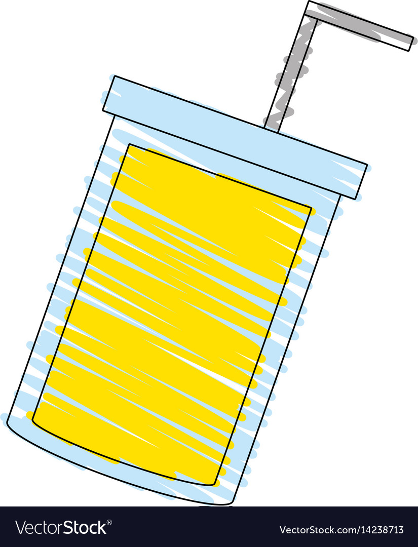 Drawing juice cup straw image vector image