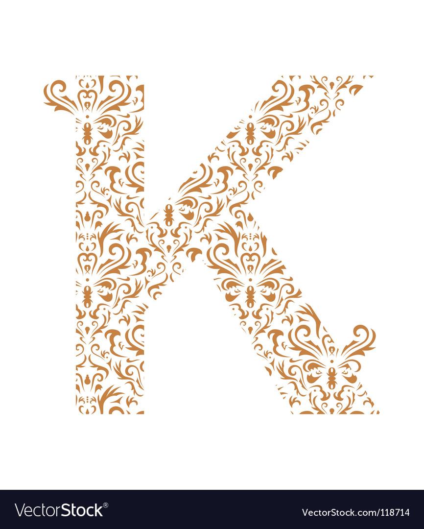 floral letter k ornament font vector image