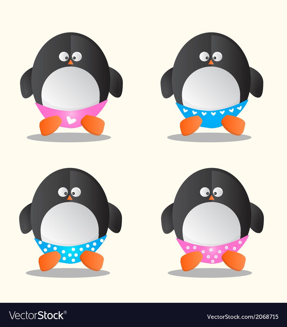 Penguin in different underwear cartoon vector image