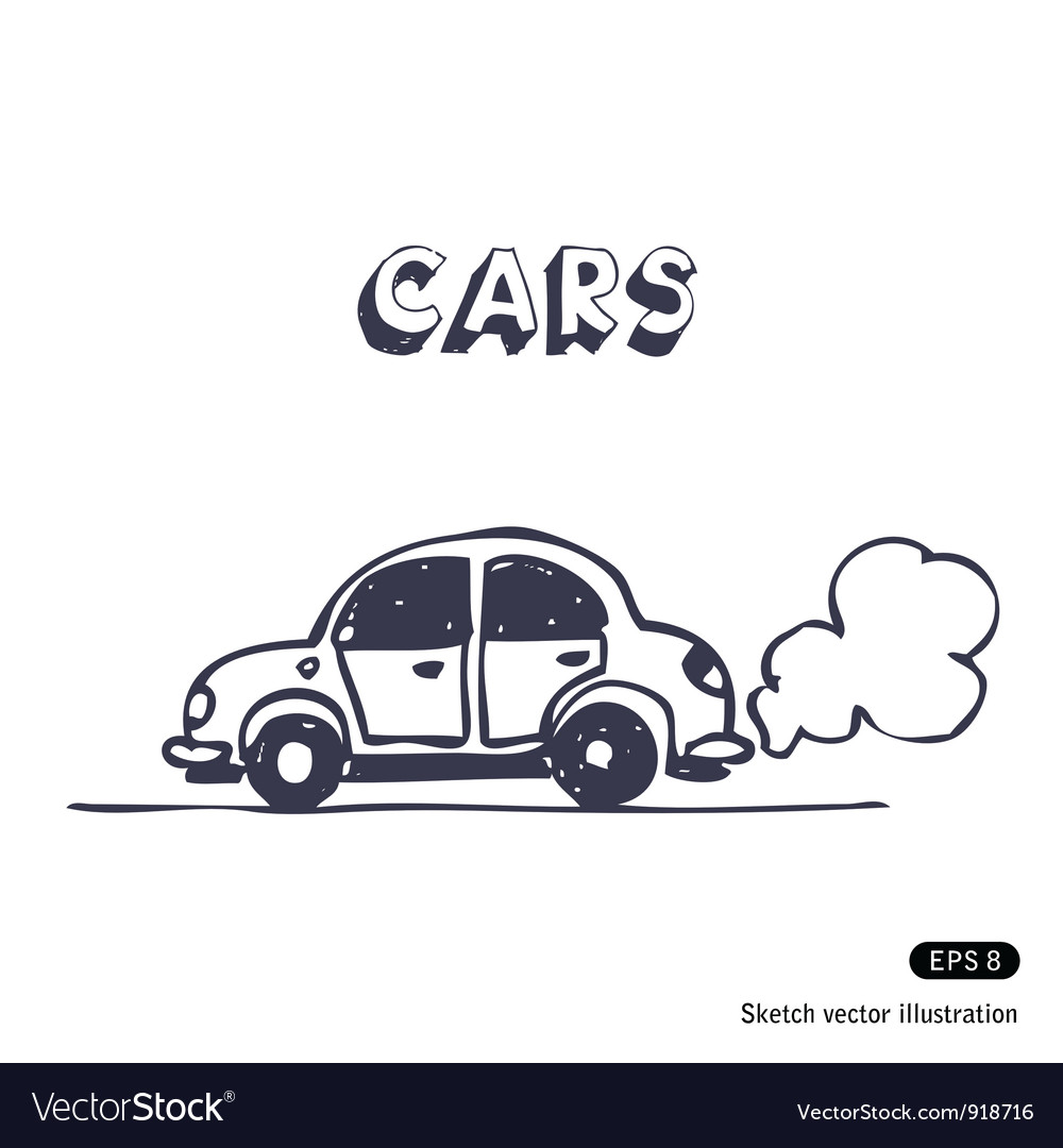 Cartoon car blowing exhaust vector image