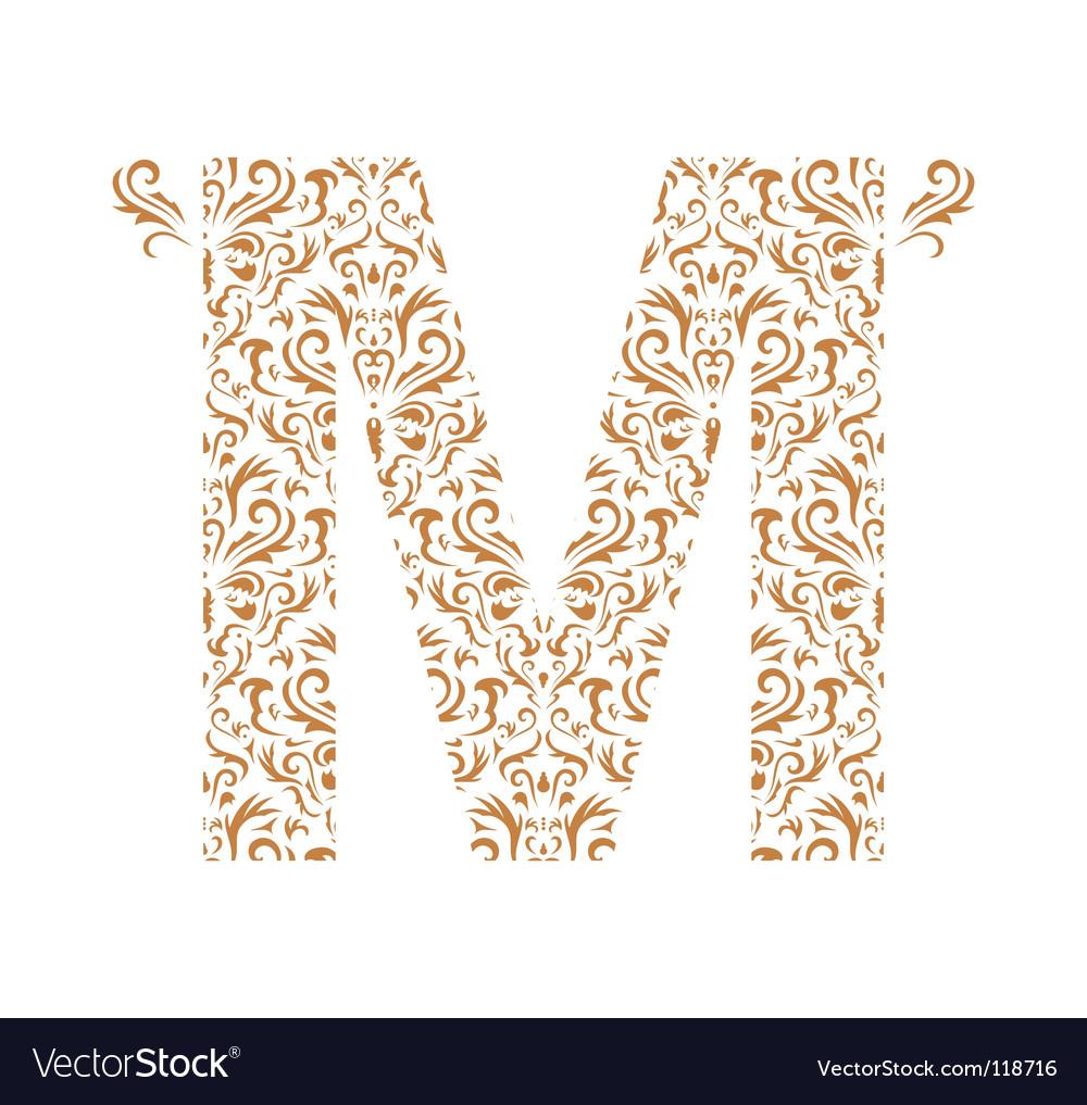 Floral letter m ornament font vector image