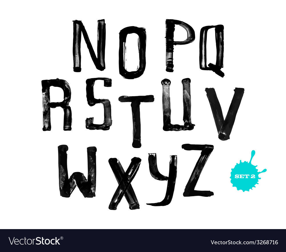 Grunge uneven handwritten alphabet set 2 vector image