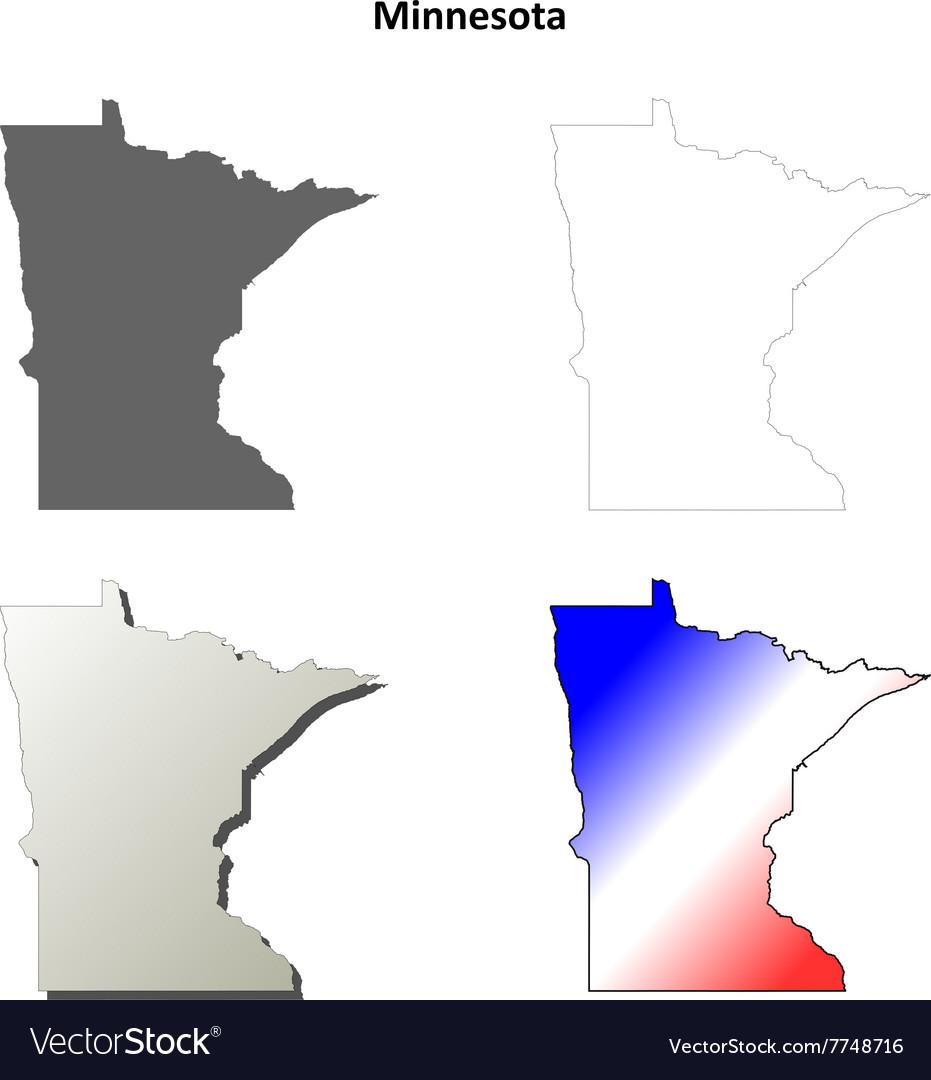Minnesota outline map set vector image