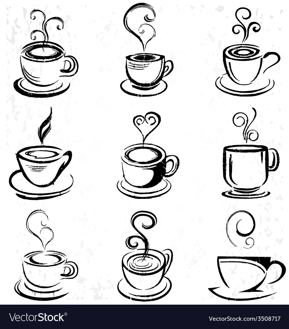 abstract hand drawn coffee cup royalty free vector image