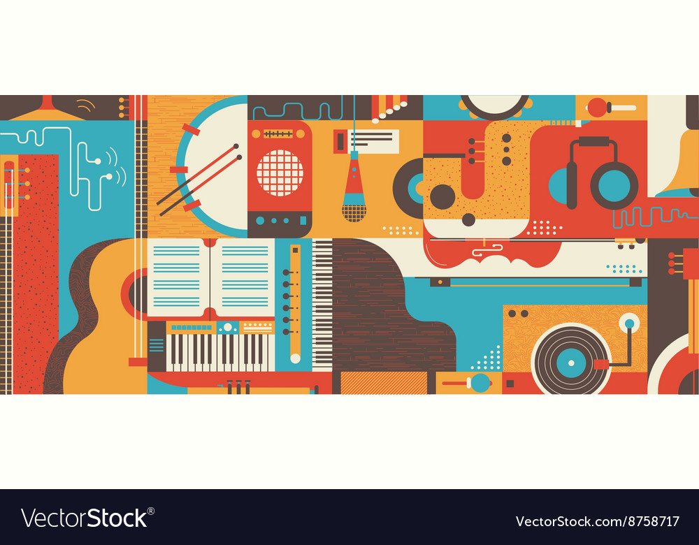 Abstract Music Background flat vector image