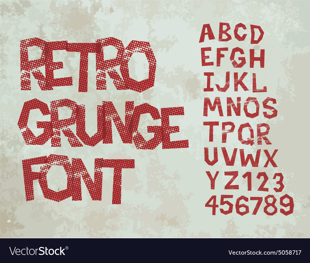 Retro grunge font with alphabet vintage vector image