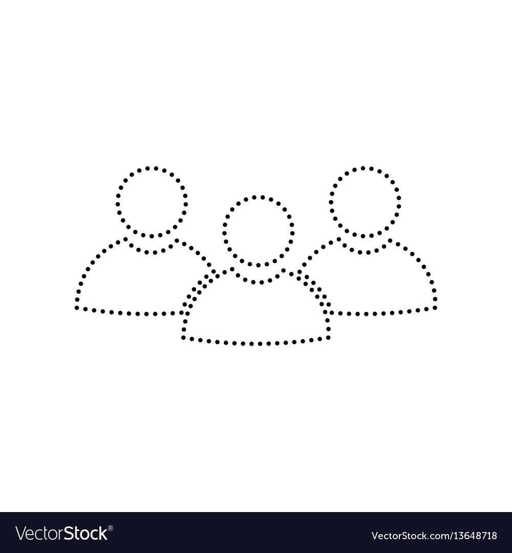 Team work sign black dotted icon on white vector image