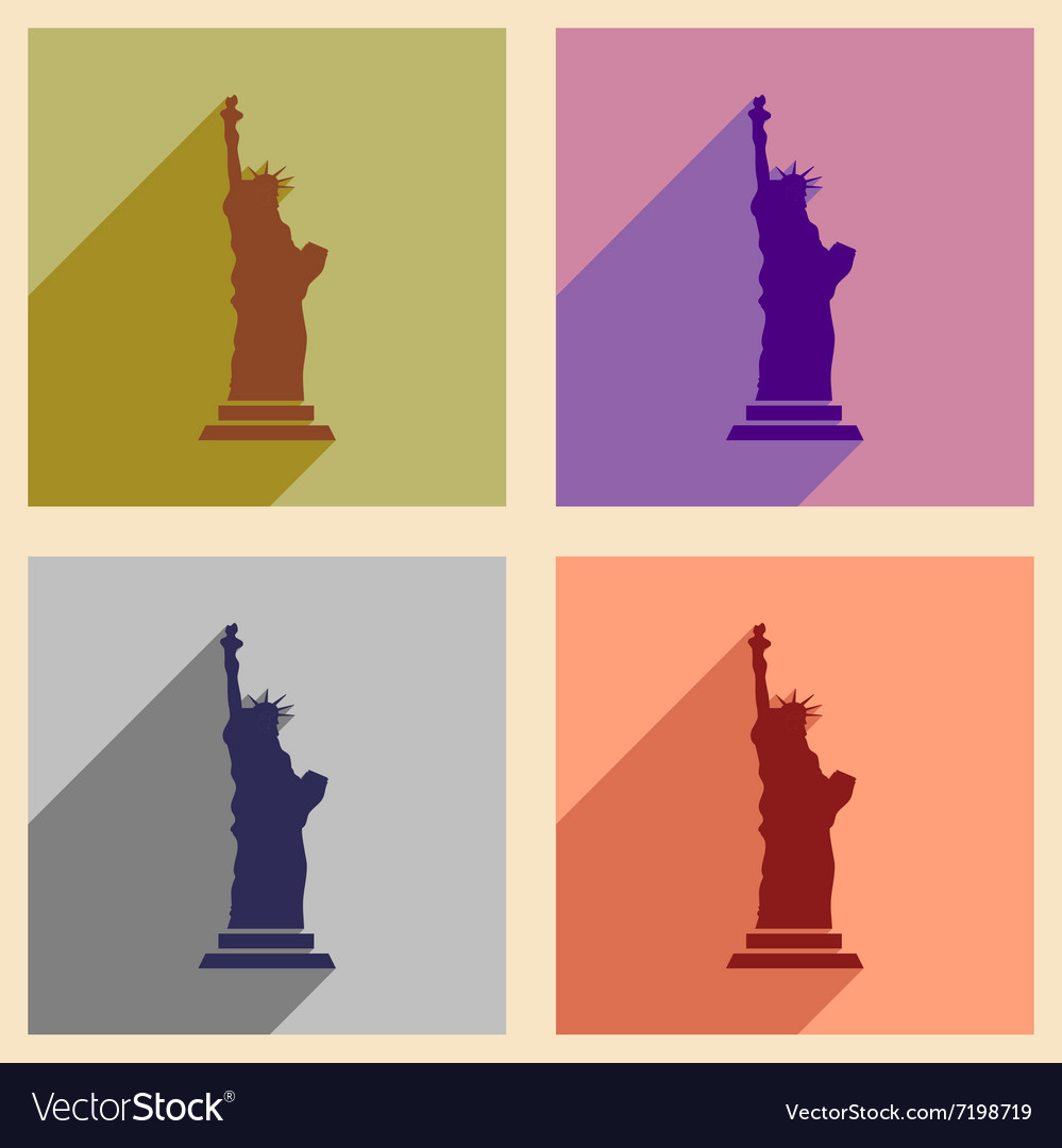 Set of flat icons with long shadow Statue of