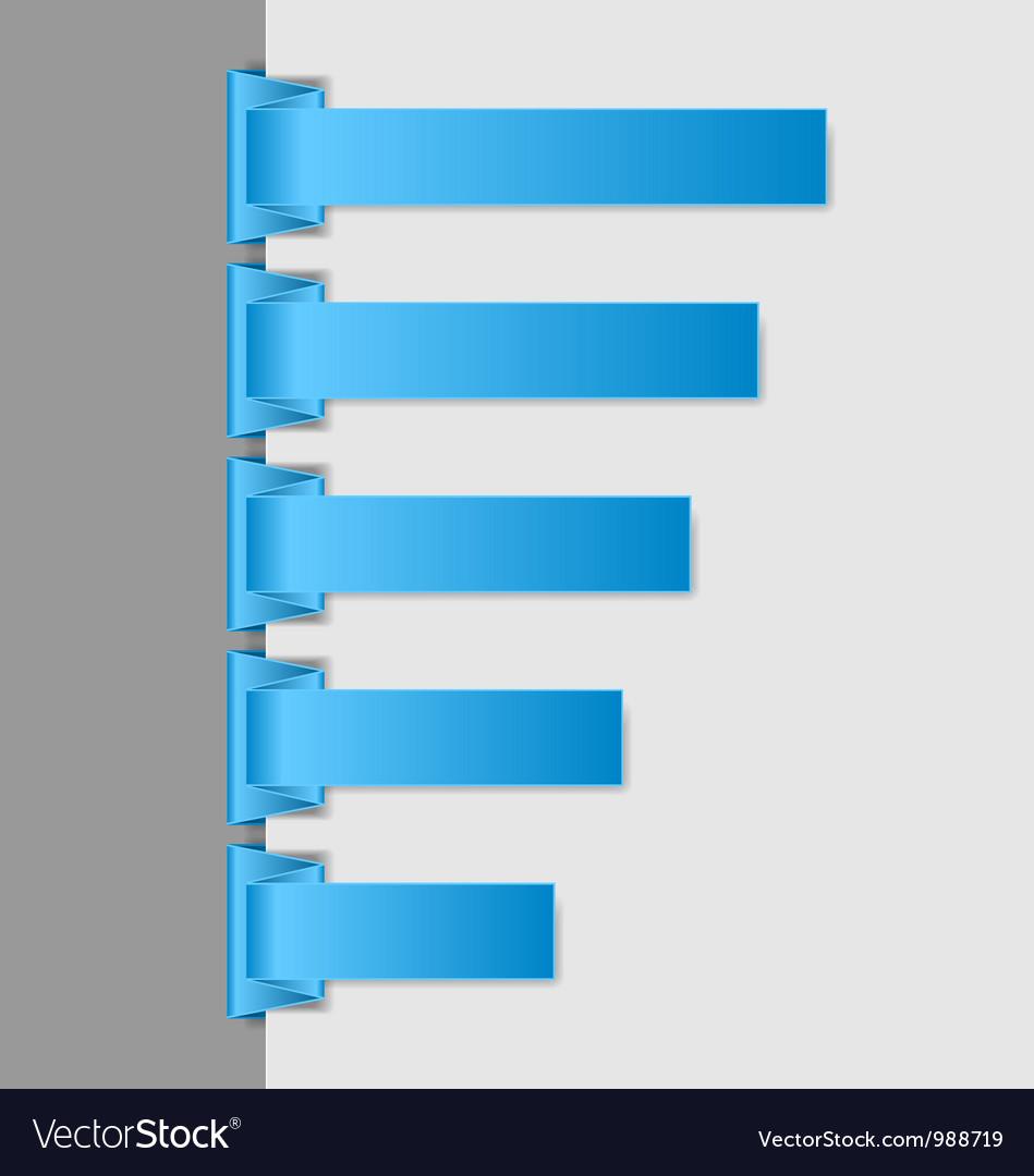 Blue folded paper navigation menu vector image