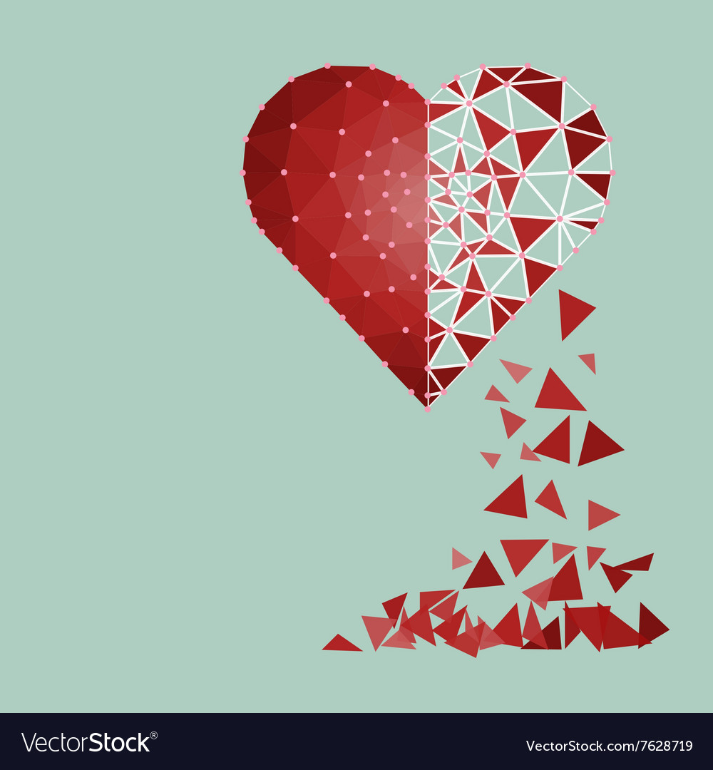 Low polygonal of red heart that crushed to a vector image