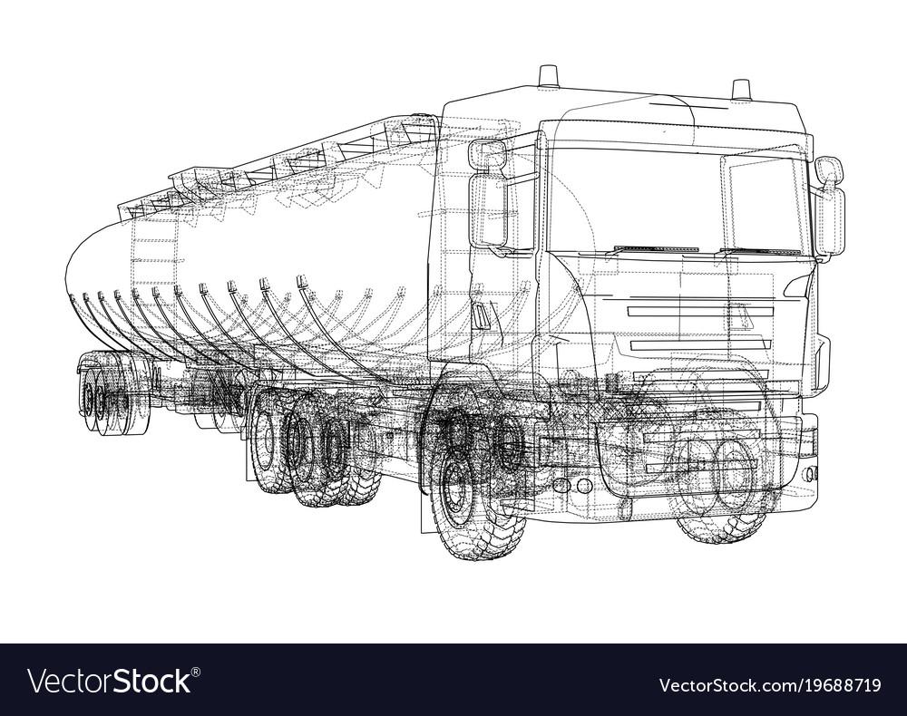 Oil truck sketch Royalty Free Vector Image - VectorStock