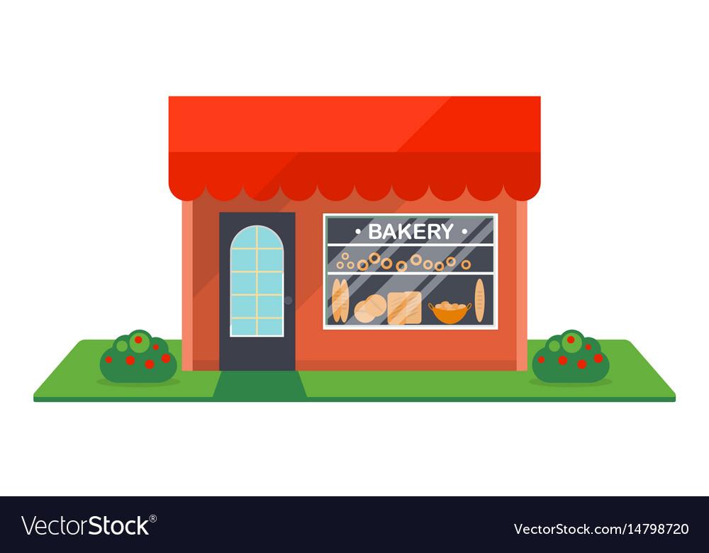Bakery shop facade isolated icon vector image