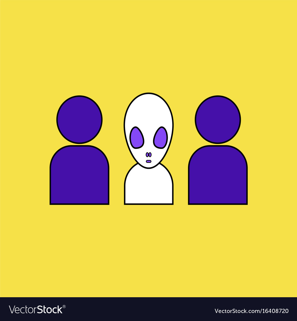 Flat icon design collection aliens silhouettes