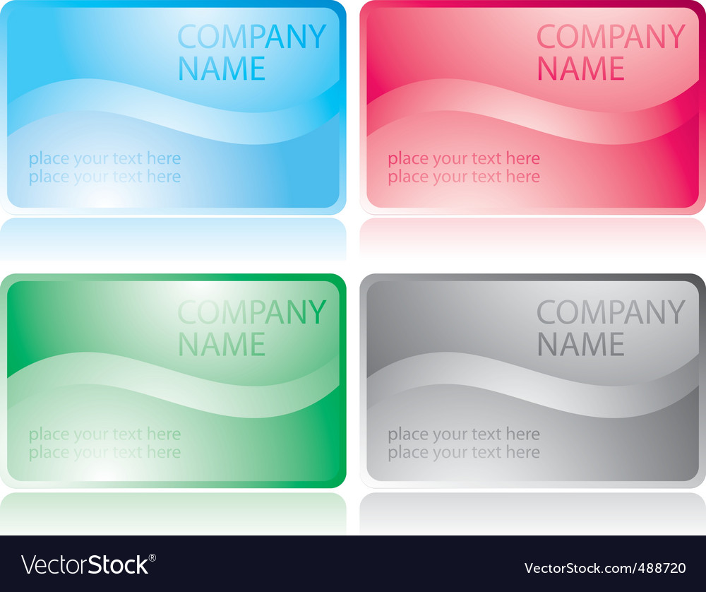 Set of glossy business cards Royalty Free Vector Image