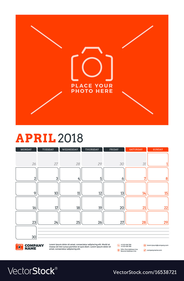 Calendar planner template for 2018 year april vector image