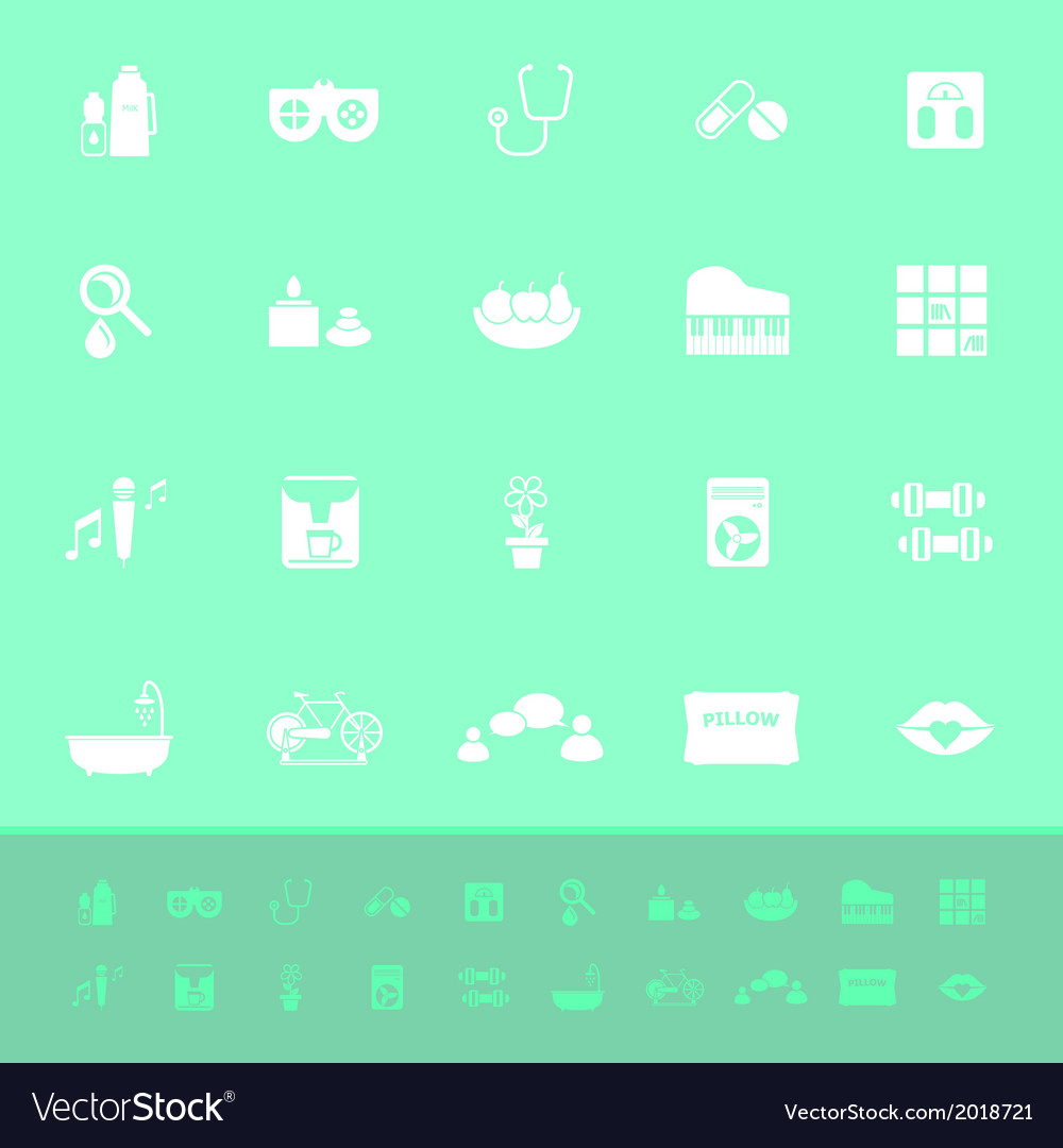 Wellness background  Wellness color icons on green background Vector Image