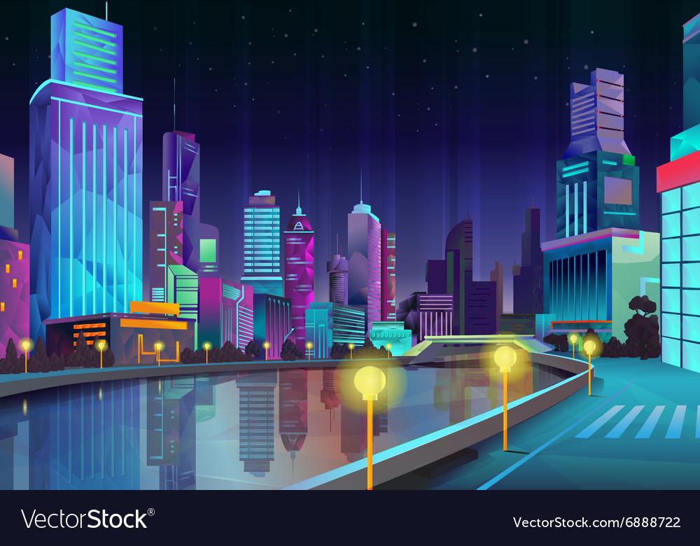 Night city vector image