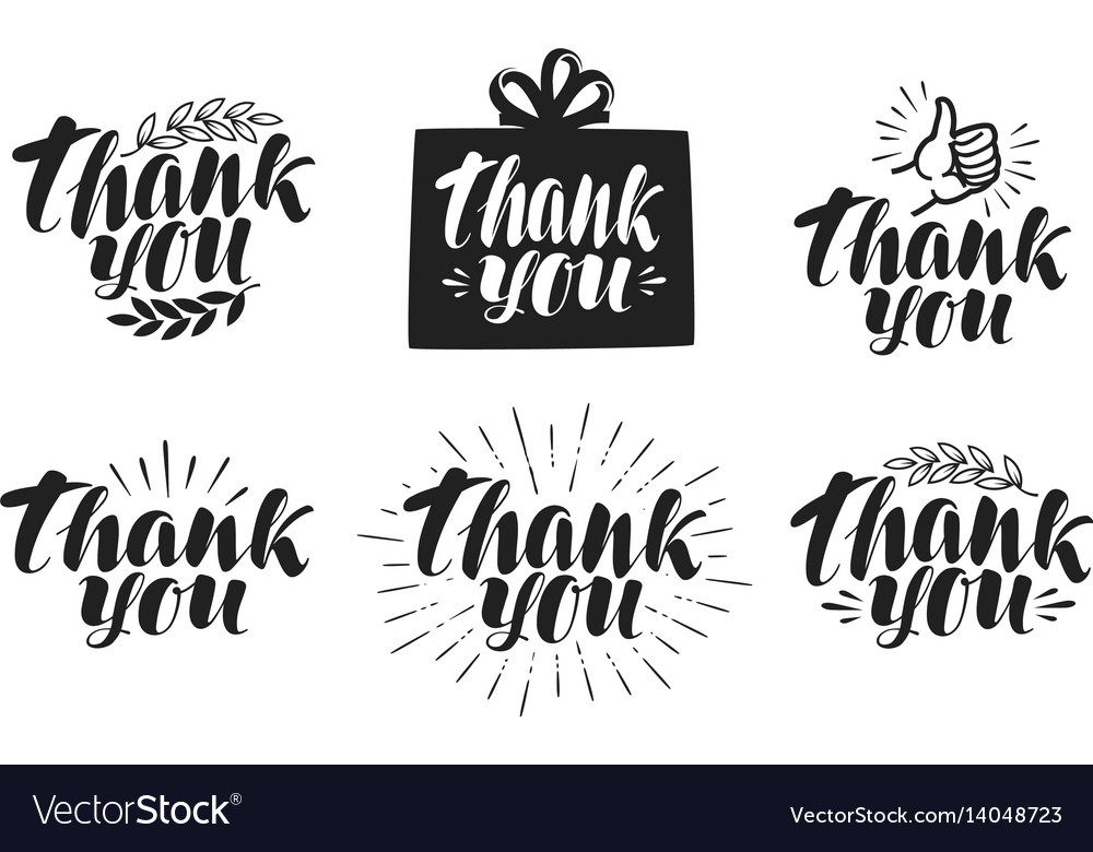 Thank you label set handwritten beautiful vector image
