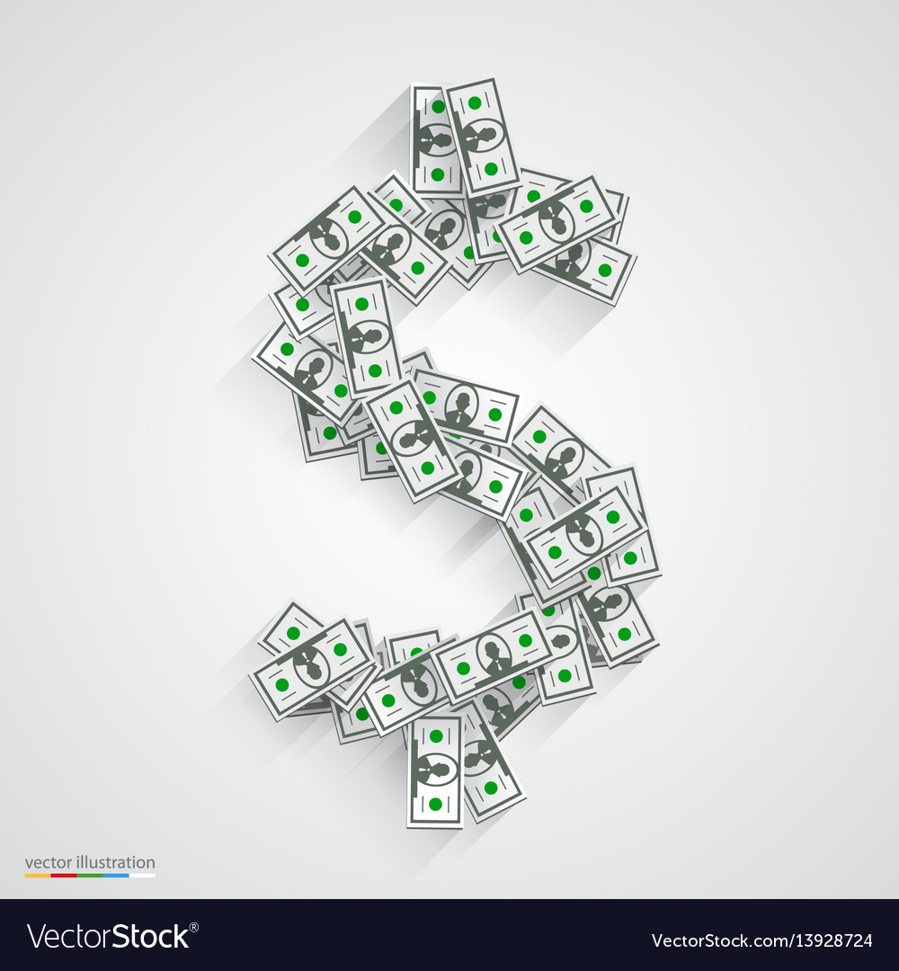 Dollars flat black vector image