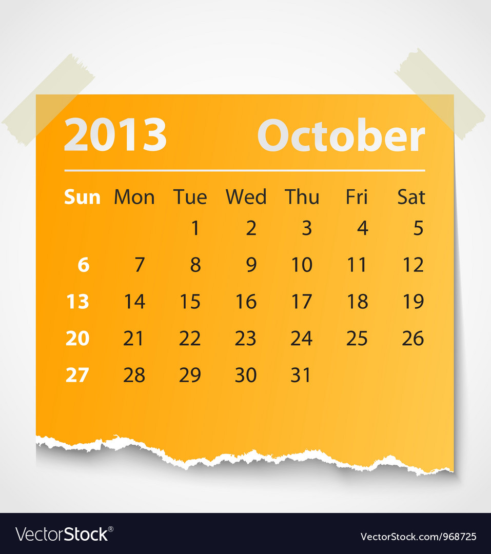 2013 calendar october colorful torn paper vector image