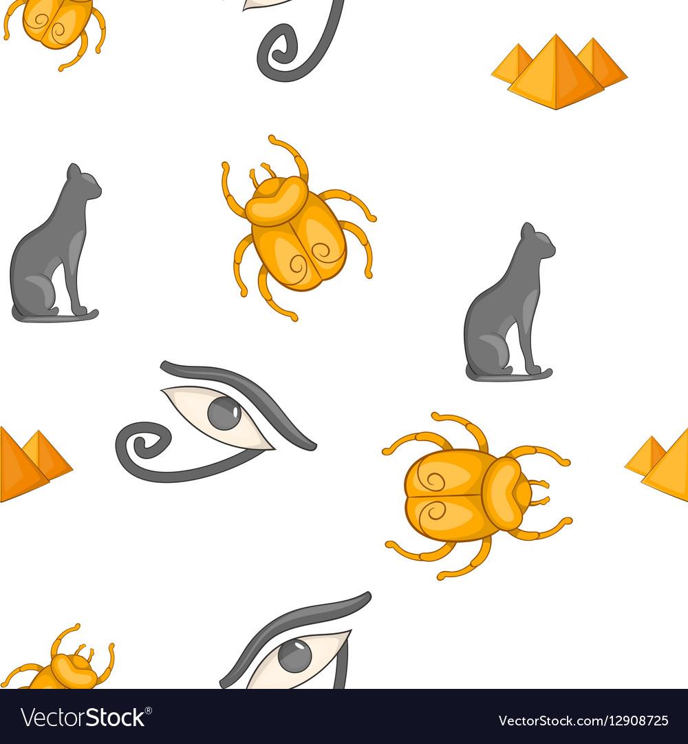 Egyptian symbols pattern cartoon style vector image