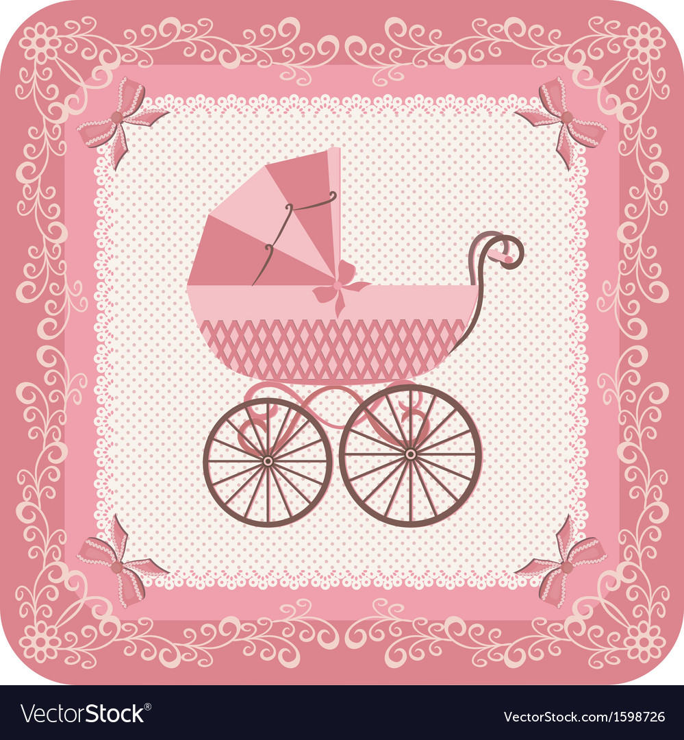 Baby girl carriage vector image