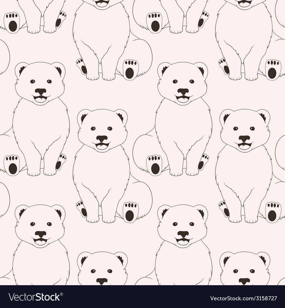 Bears pink seamless pattern on neutral background vector image