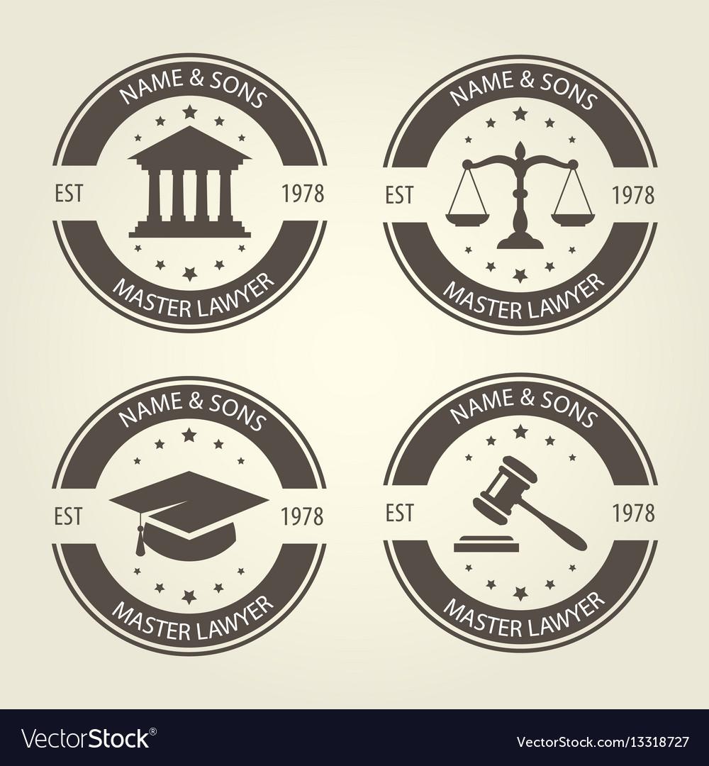 Lawyer bureau emblems and labels vector image