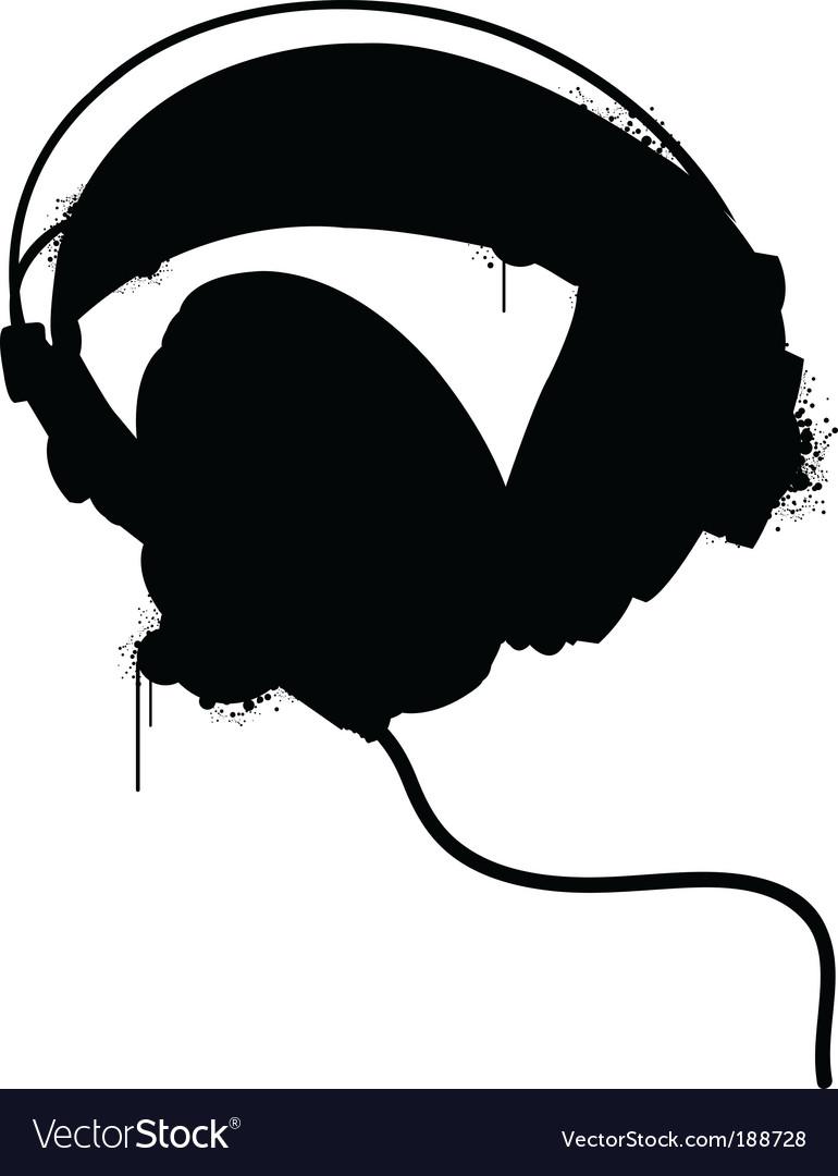 Headphones silhouette Vector Image