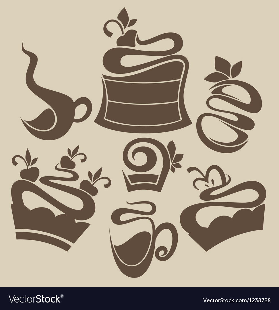 Cakes and sweets silhouettes vector image
