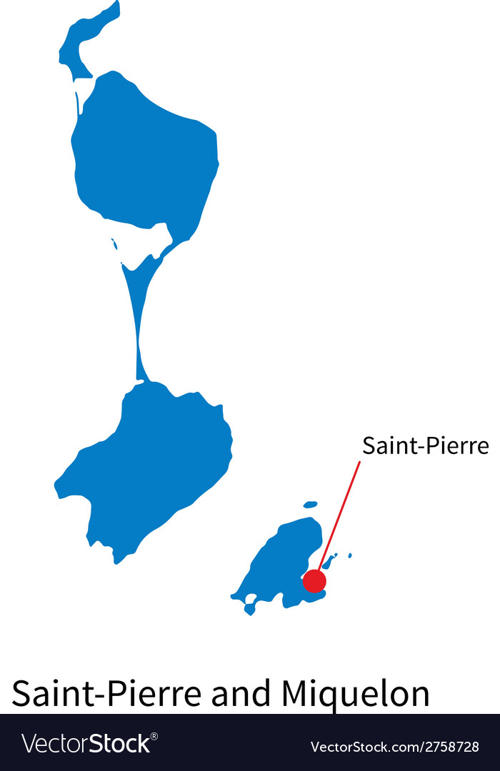 Detailed map of SaintPierre and Miquelon and Vector Image