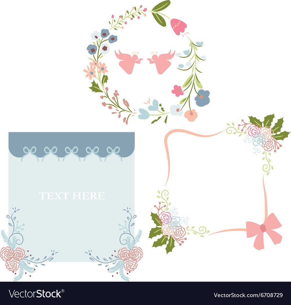 Christmas Flowers Borders2 vector image