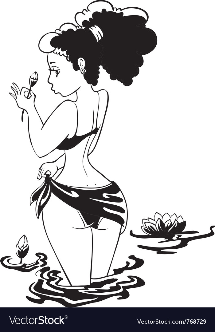 Cute pinup girl with flower vector image