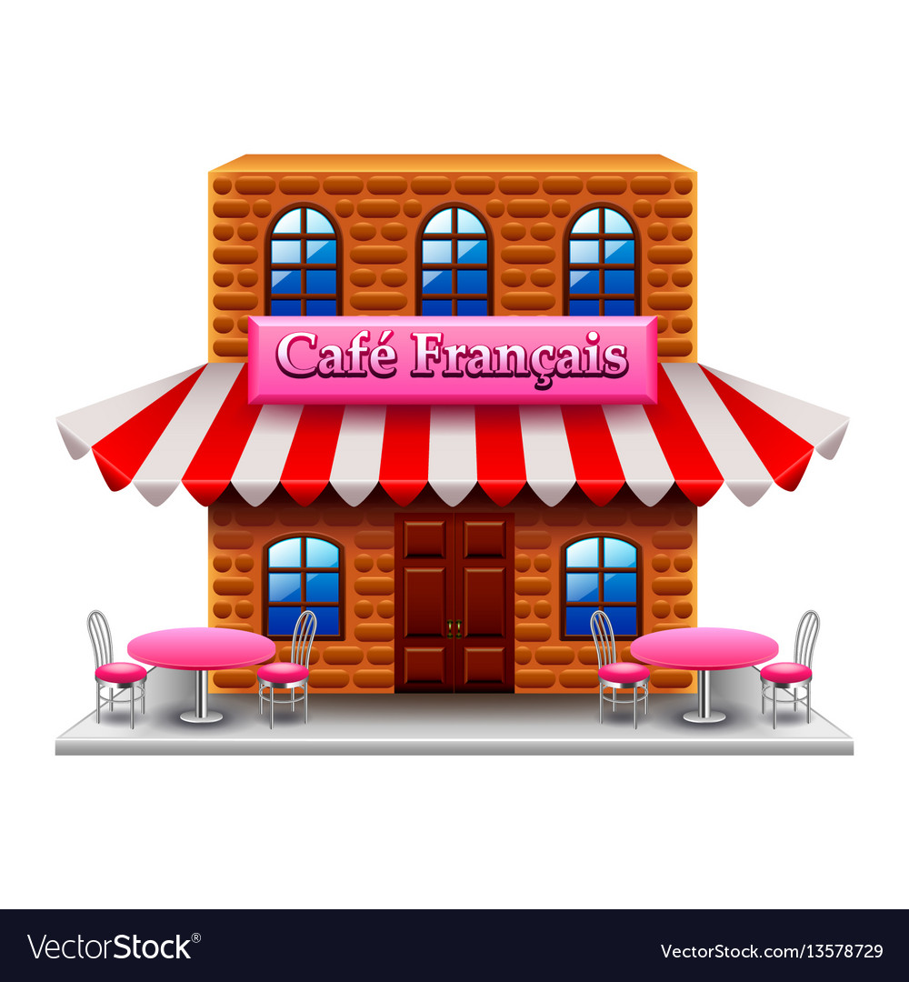 French cafe isolated on white vector image