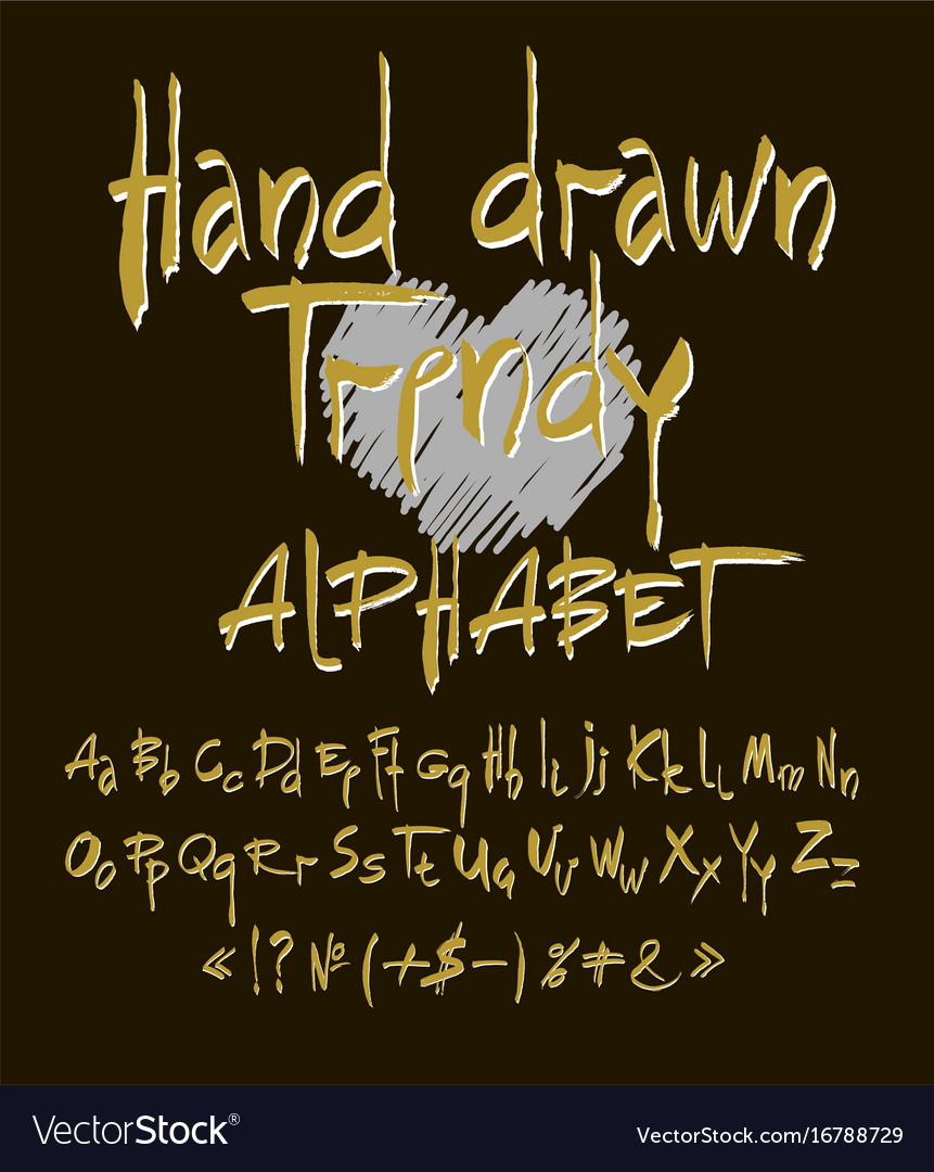 Hand drawn alphabet set of calligraphic vector image