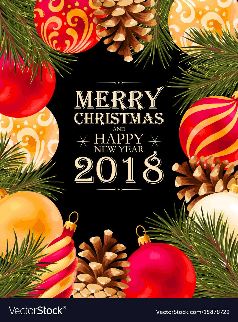 Merry Christmas Greeting Postcard Royalty Free Vector Image