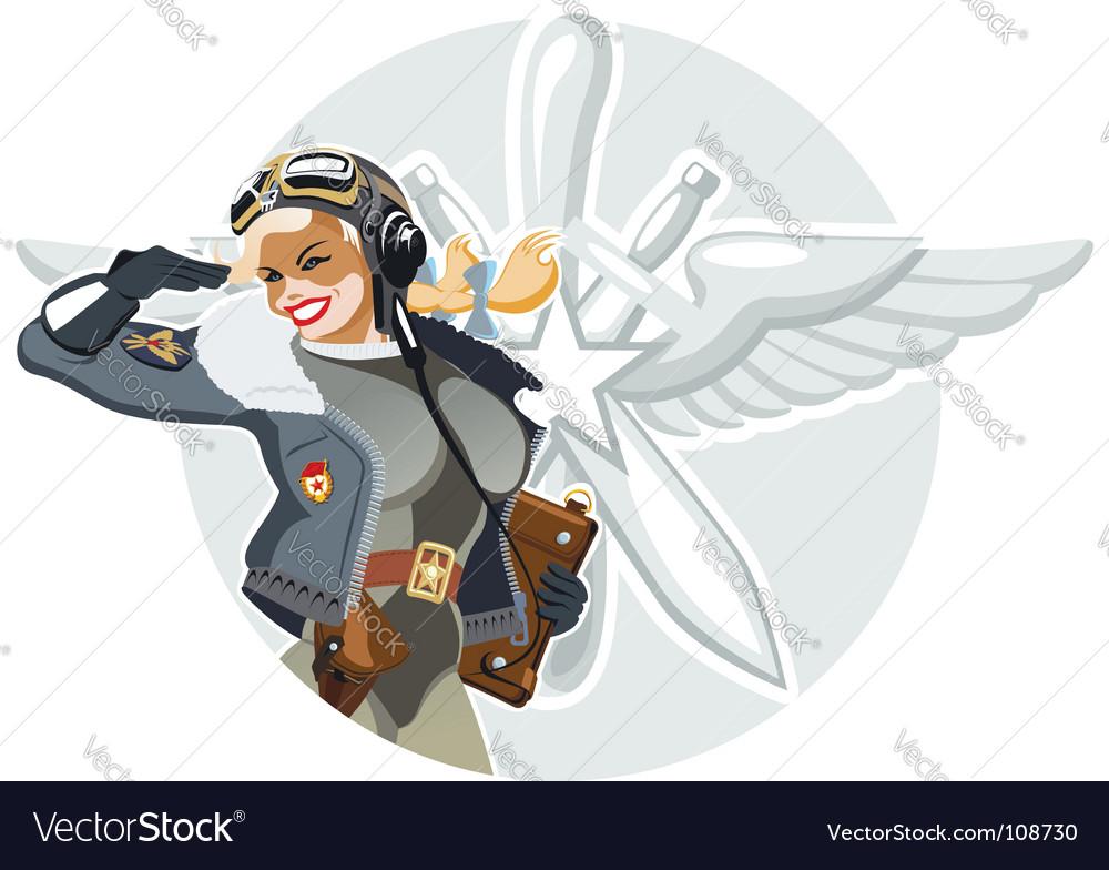 Military retro pin-up vector image