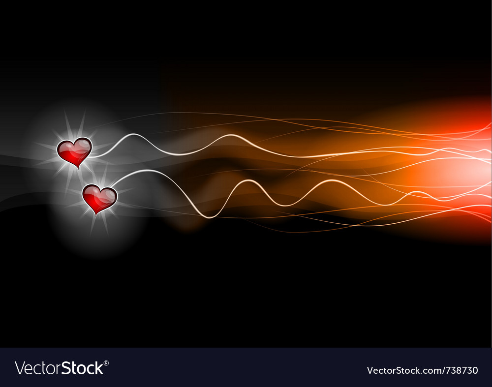 Two hearts flying on the dark vector image