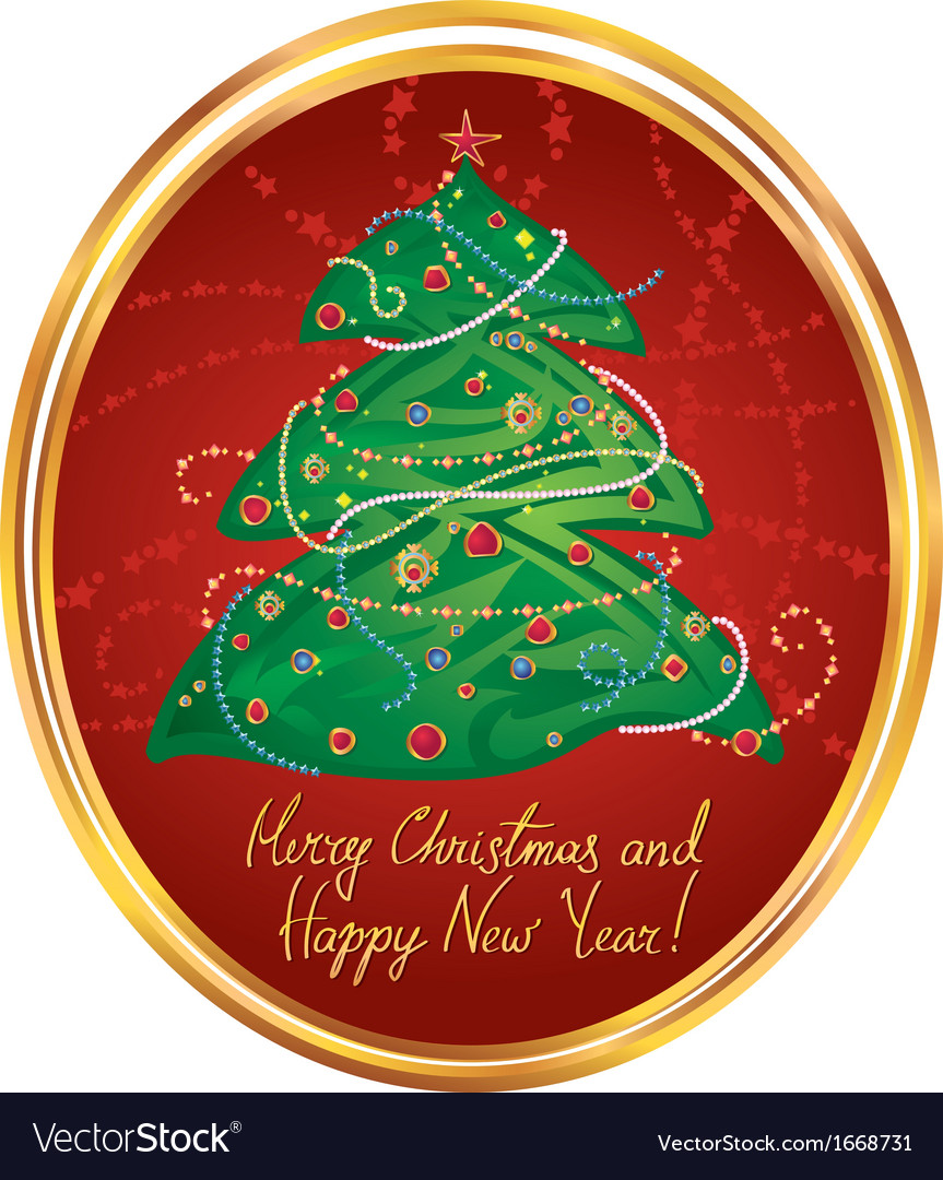 New Year greeting card in red vector image