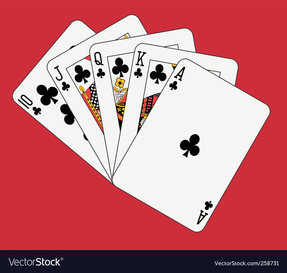 Royal flush clubs vector image