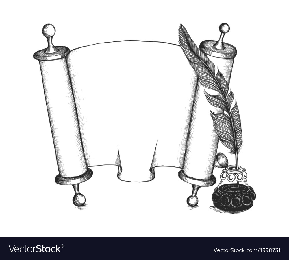 Torah set symbols quill pen Torus scroll inkwell vector image