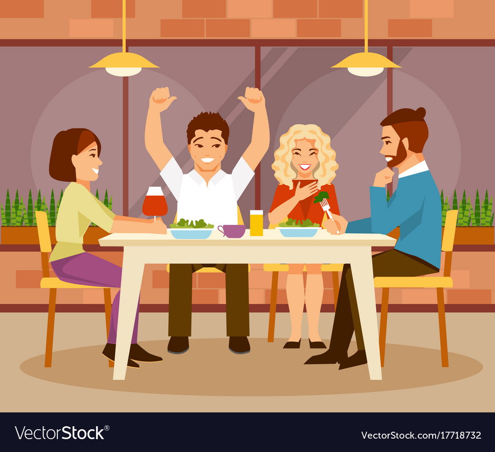 Friends in a cafe vector image