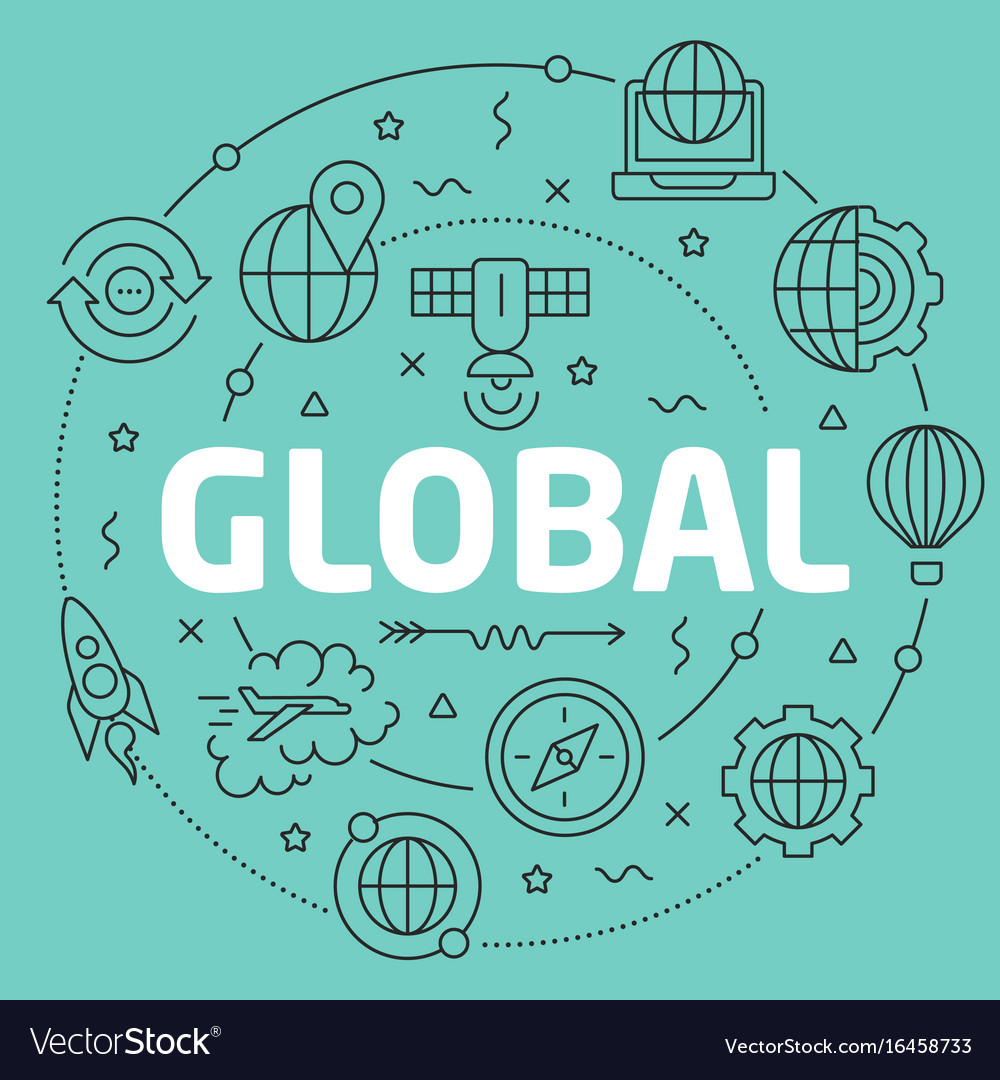 Green line flat circle global vector image