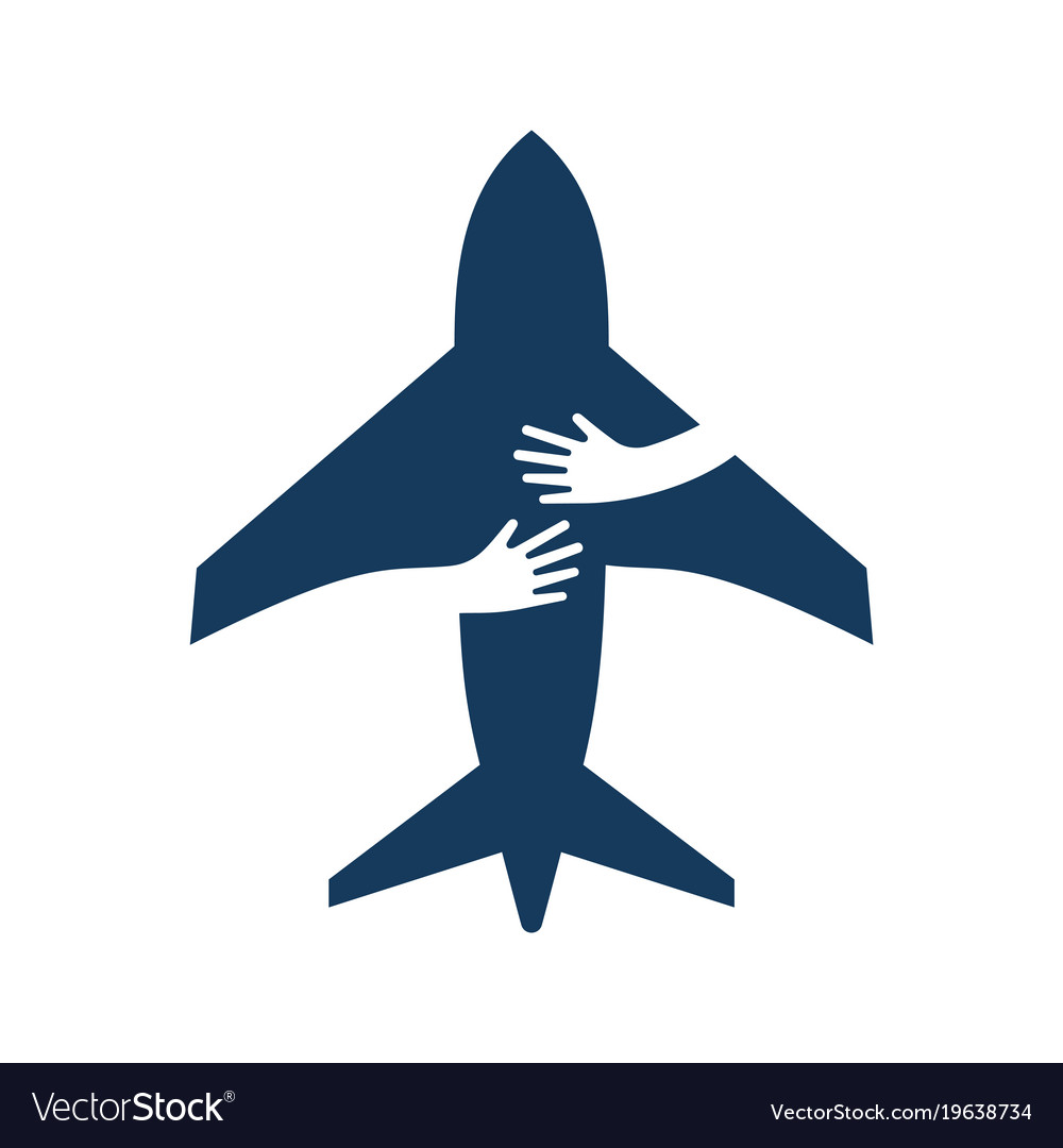 Airplane with human hands creative flat logo vector image