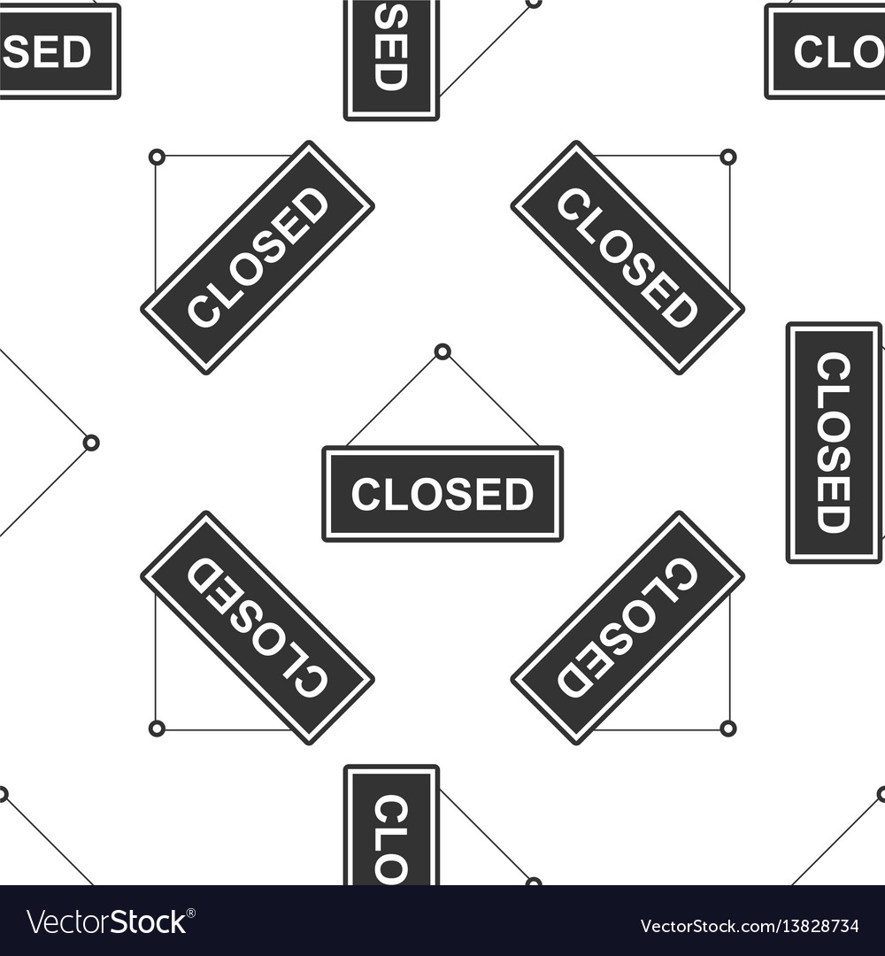 Closed door sign icon seamless pattern on white vector image