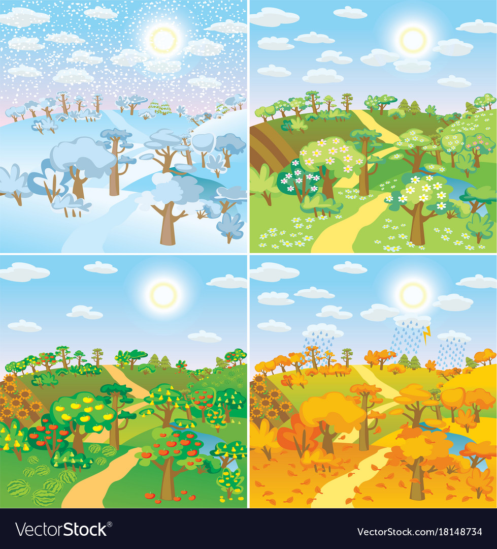 Seasons in the countryside vector image