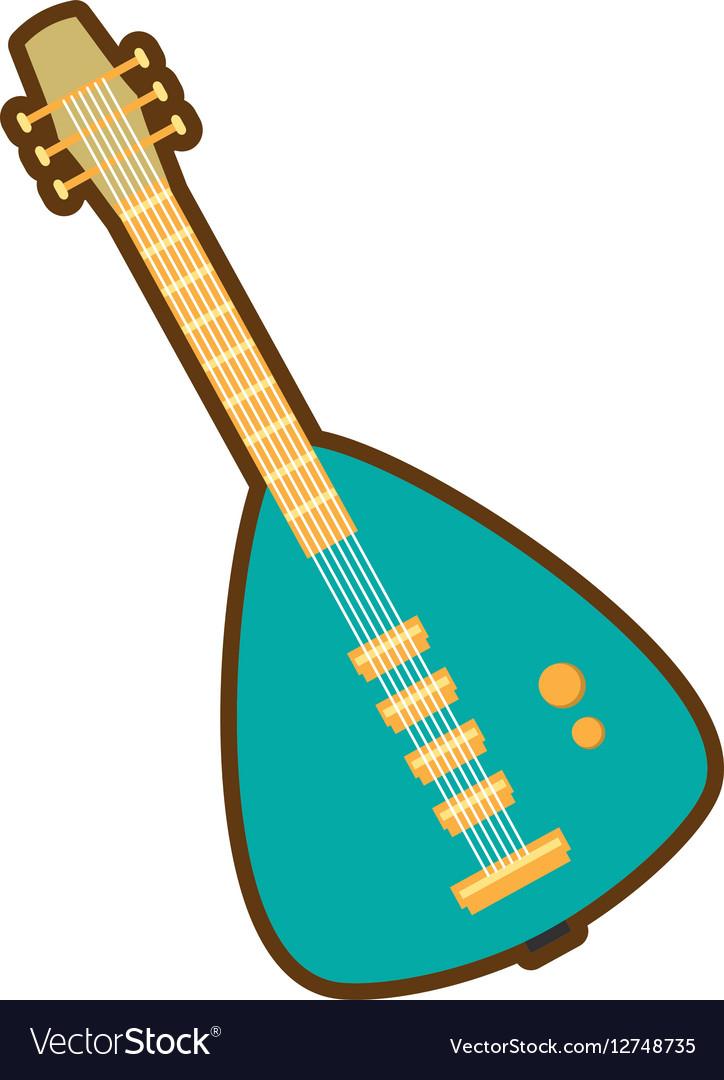 Cartoon green electric guitar bass instrument icon vector image