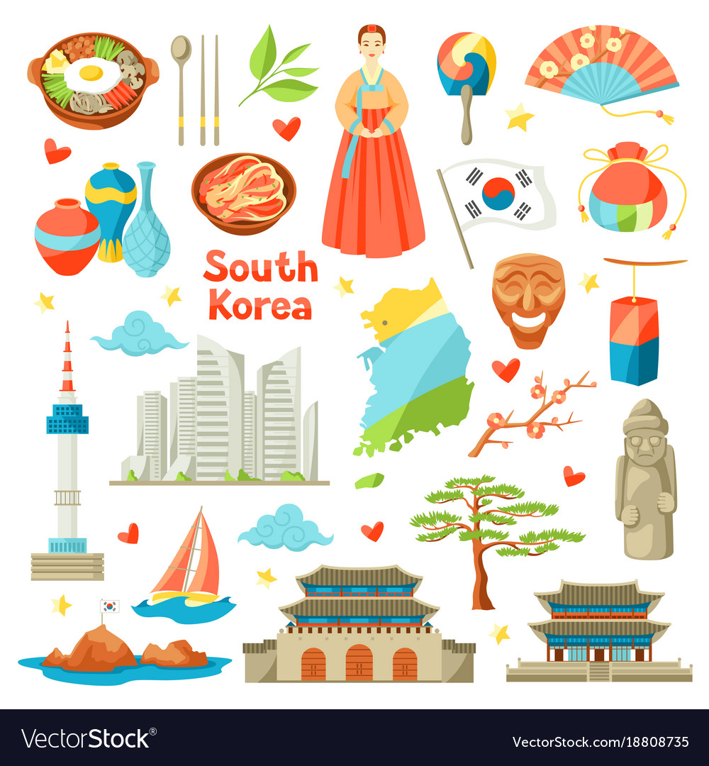 South korea icons set korean traditional symbols vector image biocorpaavc Image collections
