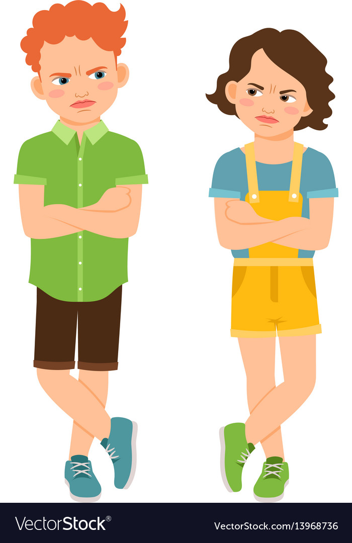 Angry children with crossed hands vector image