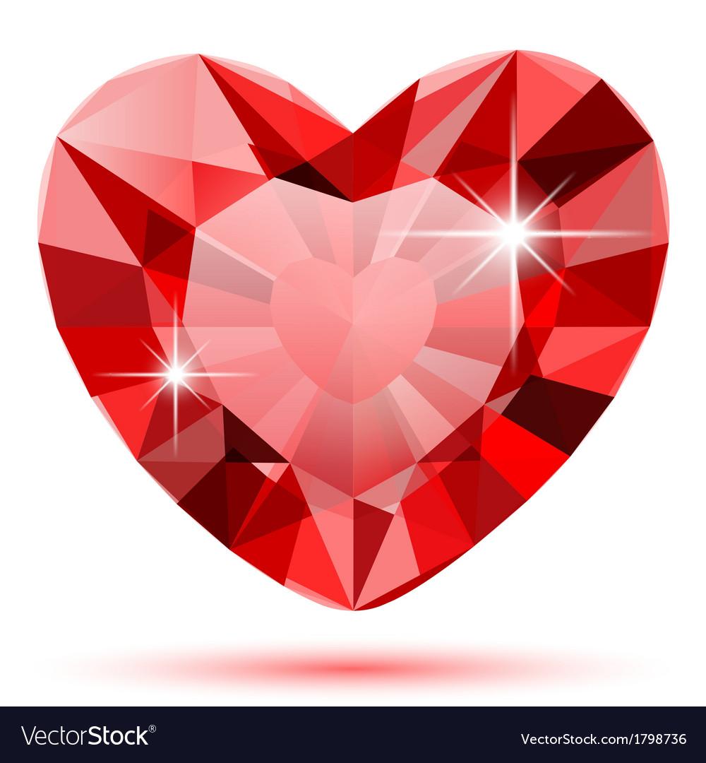 Diamond heart isolated vector image
